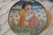 Mother's Day By Tiziano, Veneto Flair 1974, Hand Etched And Painted In Italy