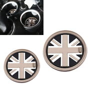 73mm Black Union Jack Uk Flag Style Coasters For Mini Cooper Front Cup Holders