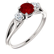 10kt Solid White Gold Elegant Three Stone Ring Size 7 Choose Your Center Stone