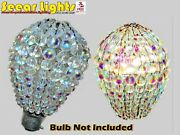 Ab Chandelier Glass Crystals Beaded Shade Light Bulb Cover Vintage Antique Look