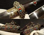 Folding Pattern Steel Chinese Full Tang Sword Brass Sharp Hand Forge Top Quality