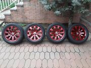 Oem Bmw 18 Wheels Painted Bmw Vermillion Red Rfts+tps+red Carbon Center Caps