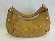 Via Spiga Tan Leather Small Hobo Bag/gold Studs/leather Accents And Single Strap