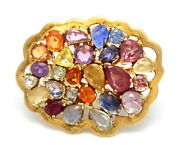 Ornate Multi Color Gemsttones Solid 14k Yellow Gold Ring Band Size 7 17.27 G