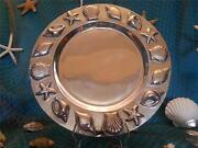 New Gorgeous Large Seafood Shell Pewter Round Serving Tray Platter