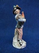Meissen Statue Boy Holding A Rooster 19th Century Soft Tones Nice Quality 1860