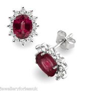 18carat White Gold Natural Ruby And Diamonds Oval Cluster Pair Earrings Hallmarked