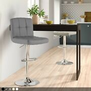 Chrome Metal Base And Gas Lift Faux Leather Kitchen Breakfast Bar Stool Swivel