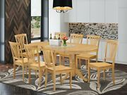 East West 9pc Dining Set Vancouver Oval Table + 8 Avon Wood Chairs In Light Oak