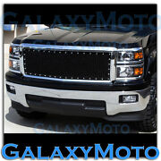 14-15 Chevy Silverado Chrome+black Direct Oe Replacement Rivet+mesh Grille+shell