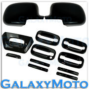 02-06 Chevy Avalanche All Black Mirror Cover+4 Door Handle No Psg Kh+tailgate