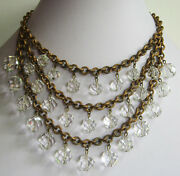 Glamorous Vintage Brass And Faceted Crystal Baubles Triple Strand Bib Necklace