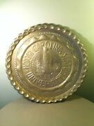 Vintage Large 20 Heavy Brass Copper Nc State Tray Platter-raleigh-wolfpack-rare
