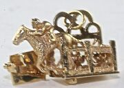 Vtg 14k Gold Spring Mechanical Horse Racing Charm Win Place Show Theyand039re Off