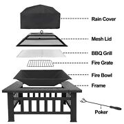 Outdoor 32 Metal Firepit Backyard Patio Garden Square Stove Fire Pit With Cover