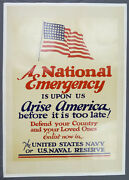 Wwii Era Us Naval Service Recruitment Poster A National Emergency Navy Usn
