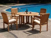 Wave 5-pc Outdoor Teak Dining 48andrdquo Butterfly Round Table 4 Stacking Arm Chairs
