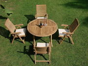 Ash 5-pc Outdoor Teak Dining Patio Set 48andrdquo Round Table 4 Reclining Arm Chairs