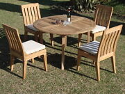 Caranas 5-pc Outdoor Teak Dining Patio Set 52andrdquo Round Table 4 Armless Chairs