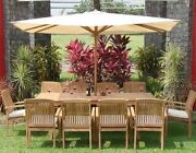 Wave 11-pc Outdoor Teak Dining 94 Rectangle Extn Table 10 Stacking Arm Chairs