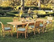 Giva 9-pc Outdoor Teak Dining 94 Rectangle Extension Table 8 Armless Chairs