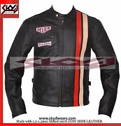 Steve Mcqueen Racing Leather Motorcycle Jacket - All Sizes