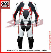 Racing Leather Motorcycle White-red One Piece Suit Anti Sweat Perforated Lining