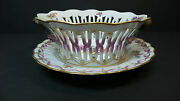 Rare Royal Copenhagen Reticulated Bowl And Tray Saxon Flower C. 1870-1890