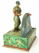 1950and039s Champion All Stars Mechanized Baseball Player Tin Litho Toy