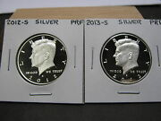 2012 S And 2013 S Silver Proof Kennedy Half Dollars