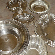 5 Silver Plate Serving Pcs -bowl, Dish, Tid Bit W Handle Andmore -towle Sheffield+