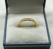 Lovely 1930and039s 22ct Gold Plain Narrow Wedding Ring By Top Maker Samuel Hope