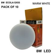 Pack Of 10 X 8w Gx53 Andpound2.45 Each Ecola Led High Quality Bulbs Light Warm White