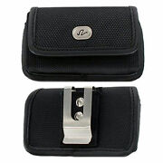 Horizontal Nylon Canvas Holster Belt Clip And Loop Case For Lg Cell Phones New
