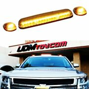 Clear Lens 3pc Cab Roof Marker Running Lights W/amber Led Lamp For Truck Suv 4x4