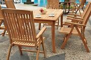 Marl 7-pc Outdoor Teak Dining Patio 60 Rectangle Table 6 Reclining Arm Chairs
