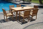 Leve 7-pc Outdoor Teak Dining Patio 83 Rectangle Table 6 Stacking Arm Chairs