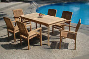 Wave 7-pc Outdoor Teak Dining Patio 83 Rectangle Table 6 Stacking Arm Chairs