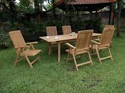 """Marl 7-pc Outdoor Teak Dining 94"""" Rectangle Extn Table, 6 Reclining Arm Chairs"""