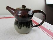 Hand Crafted Drip Glazed Stoneware Pottery 2 Cup Teapot