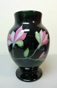 Orient And Flume Art Glass Vase Dark Green Pink And White Floral, Signed, C. 1992