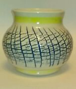 Hand crafted original pottery/ceramic vase white/blue/yellow textured signed