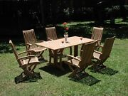 Wraw 7-pc Outdoor Teak Dining Patio 69 Console Table 6 Reclining Arm Chairs