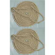 2 Pack Of 3/4 X 50 Ft Gold And White Double Braid Nylon Mooring And Docking Lines