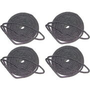4 Pack Of 3/4 Inch X 50 Ft Black Double Braid Nylon Mooring And Docking Lines