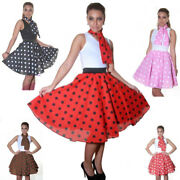 New Ladies Rock And Roll Polka Dot Skirt 50s And 60s Ladies Fancy Dress Skirts
