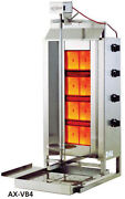 Axis Ax-vb4 Commercial 4-burner Gas Vertical Gyro And Shawarma Broiler Brand New