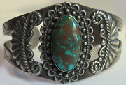 Vintage 40and039s Navajo Indian Stamped Arrows Cacti Silver Turquoise Cuff Bracelet