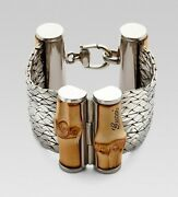 New Sterling Silver And Bamboo Wood Bracelet Msrp 1890 Size 18