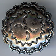 Large Vintage Navajo Indian Silver Stamped Designs Scalloped Button